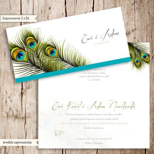 Zaproszenia ślubne pawie pióra Olsztyn