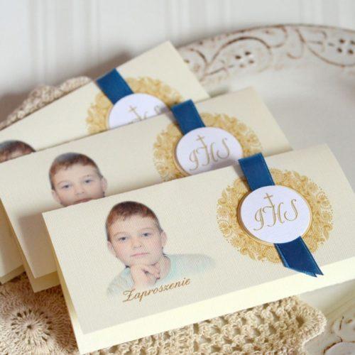 Klasyczne zaproszenia komunijne ze zdjęciem dziecka Olsztyn