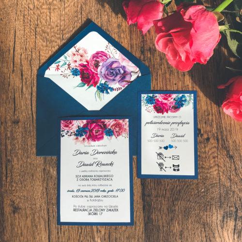 Rustykalne zaproszenia ślubne róże piwonie chabry